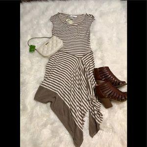 NWT Max Studio flowy dress Tan & white stripe SZ S